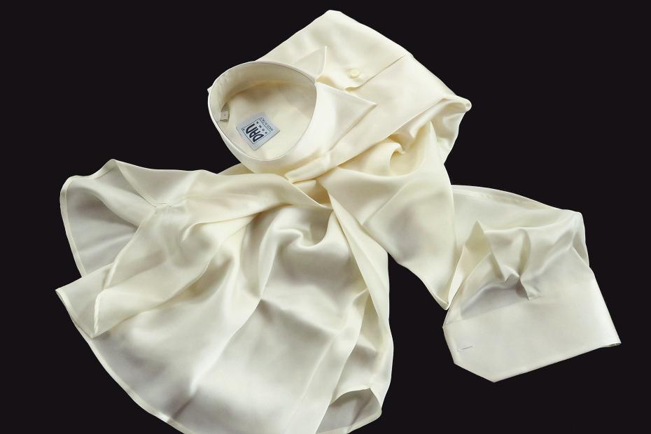 ★イタリアシルクシャツDANROMA SILK SATIN PERLA PERLA ときめきの真珠色 COLLO REGLARE 普通衿 M 40-91_画像6