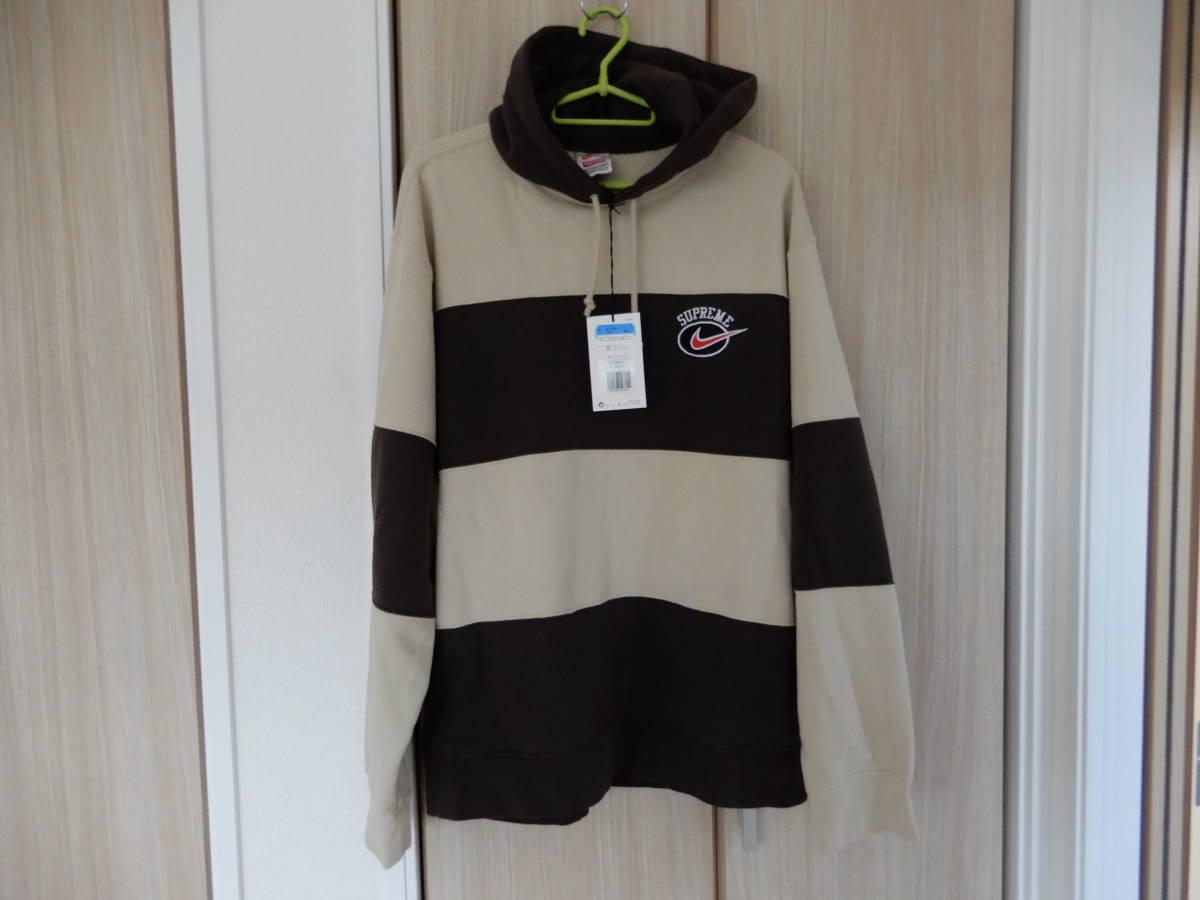 送料無料 Supreme 19SS Nike Stripe Hooded Sweatshirt tan ストライプ フーデッド スウェットシャツ 国内正規品新品 sizeM