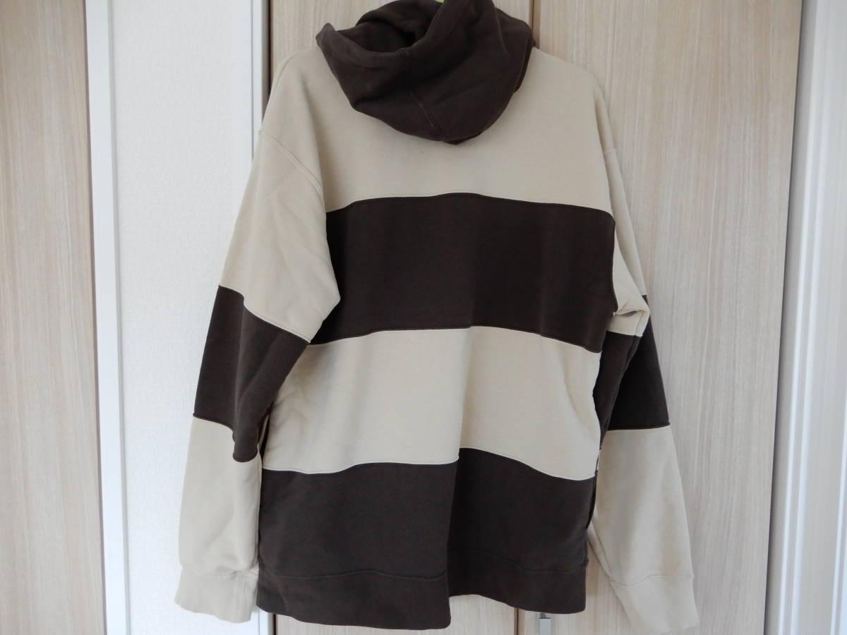 送料無料 Supreme 19SS Nike Stripe Hooded Sweatshirt tan ストライプ フーデッド スウェットシャツ 国内正規品新品 sizeM_画像3