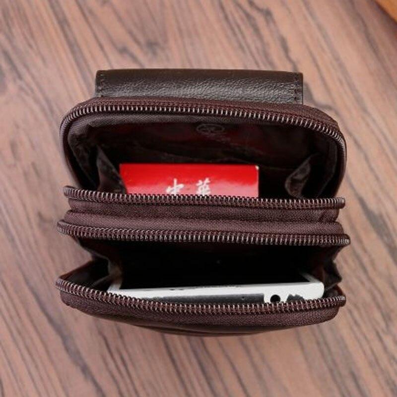【SALE】男性本革携帯携帯電話ケースバッグ男性ループスキンベルトウエストバッグヒップボム第一層牛革ファニーパック財布 未使用_画像2