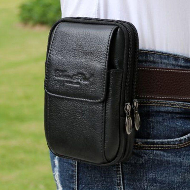 【SALE】男性本革携帯携帯電話ケースバッグ男性ループスキンベルトウエストバッグヒップボム第一層牛革ファニーパック財布 未使用