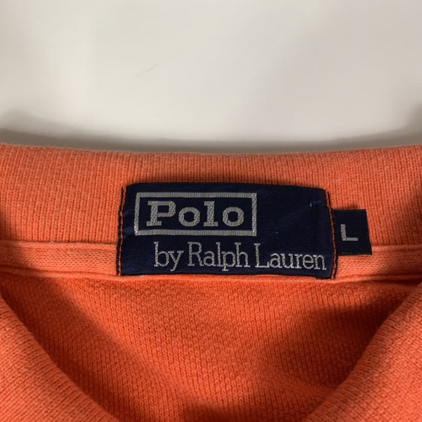 Polo by Ralph Lauren ポロ ラルフローレン ボーダー 半袖 ポロシャツ オレンジ size L