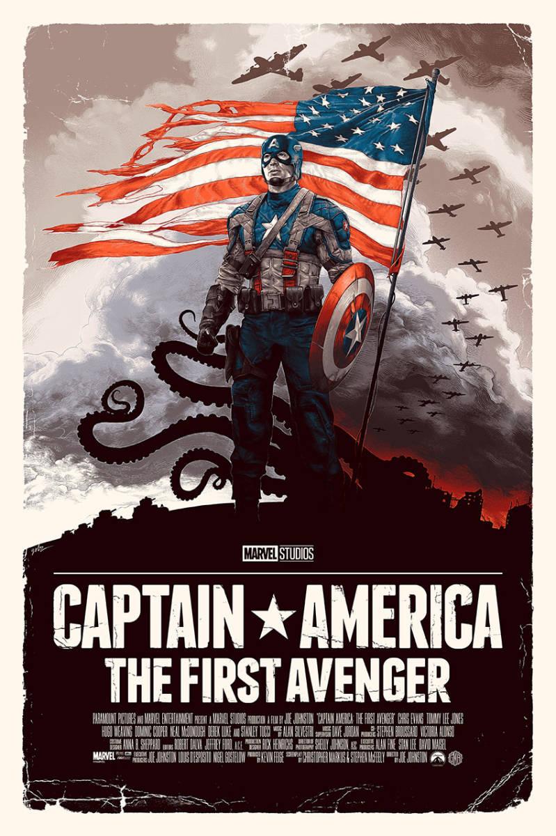 限定 300枚 キャプテン・アメリカ シルクスクリーン アートポスター 検 シビルウォー MONDO アベンジャーズ エンドゲーム_画像1