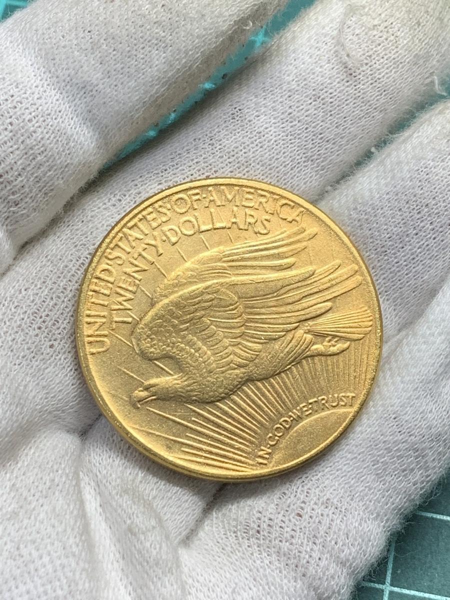 【Ωコイン】女神立像 アメリカ 20ドル 1910年銘 検)古銭硬貨貨幣金貨ゴールド系 レア記念 メダル 希少 海外外国世界 レプリカ復刻 t8_画像5