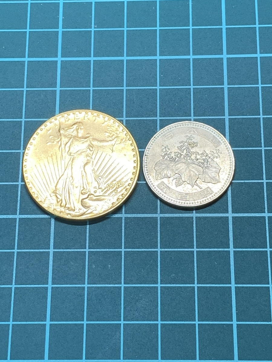 【Ωコイン】女神立像 アメリカ 20ドル 1910年銘 検)古銭硬貨貨幣金貨ゴールド系 レア記念 メダル 希少 海外外国世界 レプリカ復刻 t8_画像6