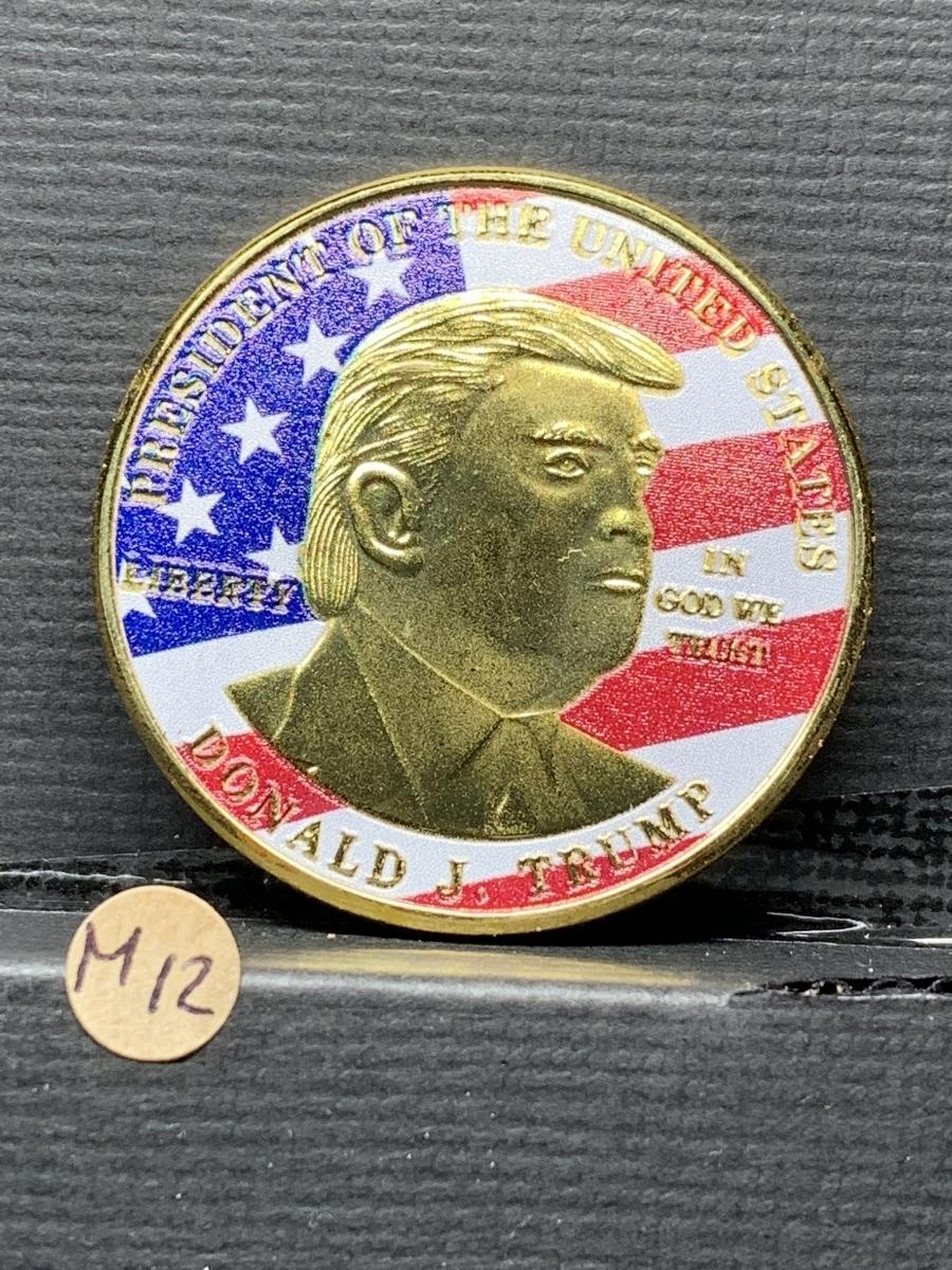 【Ωコイン】アメリカ ドナルド・トランプ大統領 ゴールド色系ver 共和党 検)非古銭硬貨貨幣金貨 レア記念 メダルグッズ 外国 m12_画像1