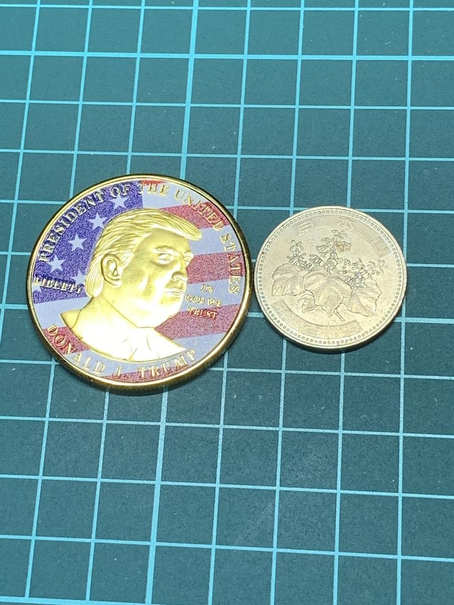【Ωコイン】アメリカ ドナルド・トランプ大統領 ゴールド色系ver 共和党 検)非古銭硬貨貨幣金貨 レア記念 メダルグッズ 外国 m12_画像6