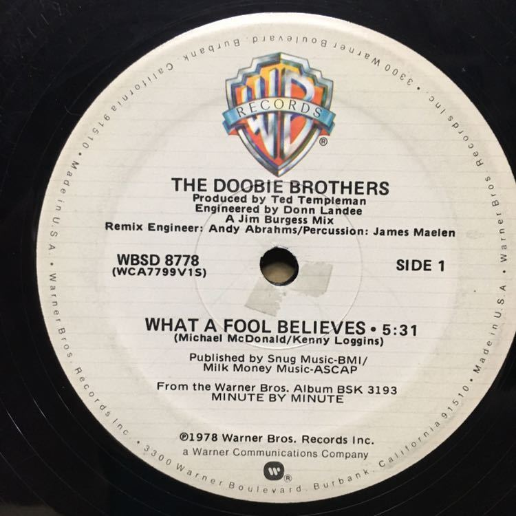 12' THE DOOBIE BROTHERS / WHAT A FOOL BELIEVES ※ ジャンク_画像1