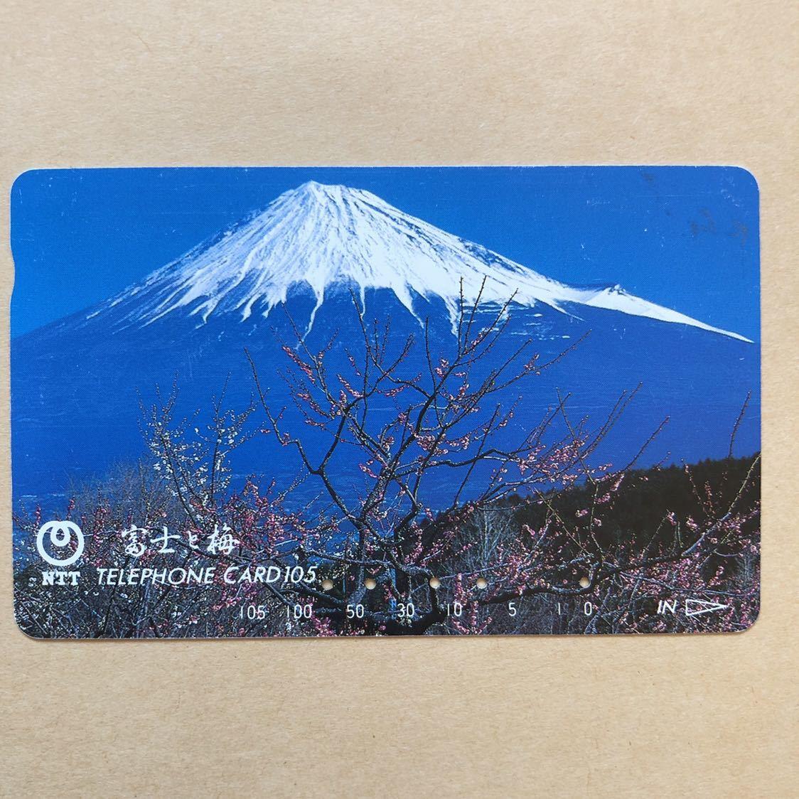 【使用済】 テレカ 富士山 富士と梅_画像1