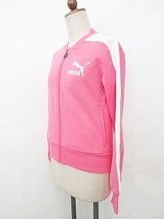 プーマ PUMA トラックジャケット 長袖 ジップアップ ロゴ ライン ピンク 白 ホワイト XS_画像3