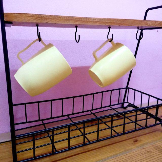 アイアンラック 木製 インテリア キッチン飾り棚 アメリカン雑貨  アメ雑  小物入れ ガーデニング_画像3