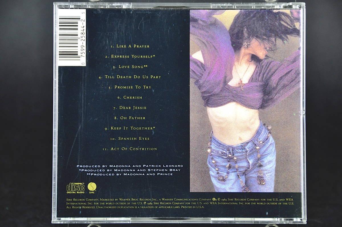 ☆☆☆ MADONNA LIKE A PRAYER / マドンナ ライク・ア・プレイヤー 89年盤 11曲収録 CD アルバムUS輸入盤Sire 9 25844-2 美盤!! ☆☆☆_画像2