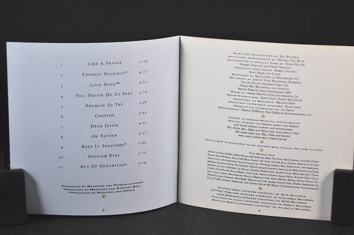 ☆☆☆ MADONNA LIKE A PRAYER / マドンナ ライク・ア・プレイヤー 89年盤 11曲収録 CD アルバムUS輸入盤Sire 9 25844-2 美盤!! ☆☆☆_画像5