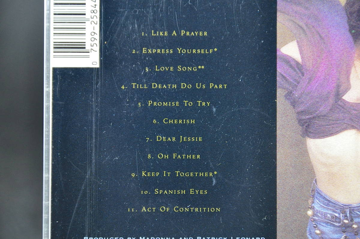 ☆☆☆ MADONNA LIKE A PRAYER / マドンナ ライク・ア・プレイヤー 89年盤 11曲収録 CD アルバムUS輸入盤Sire 9 25844-2 美盤!! ☆☆☆_画像9