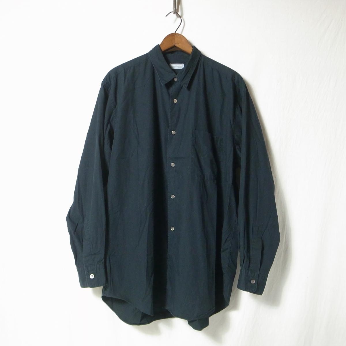 90s COMME des GARCONS HOMME コムデギャルソン オム 長袖 シャツ 黒 無地 / ビッグシルエット ブランド古着 アーカイブ