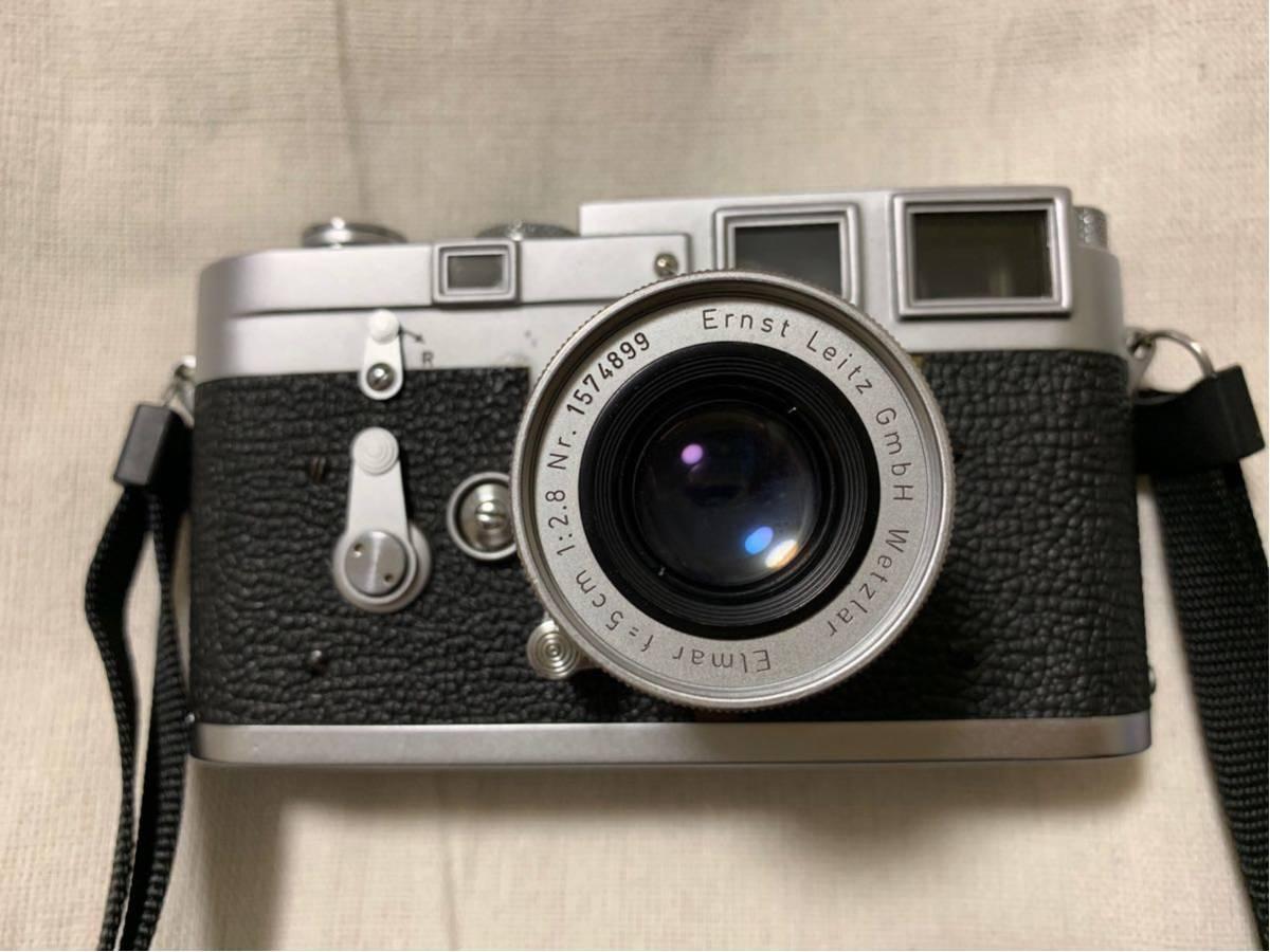 55年製 Leica M3 ライカ DS ダブルストローク 70万番台 エルマー 50㎜ F2.8 レンズ 付き 純正ストラップ レザーケース付き