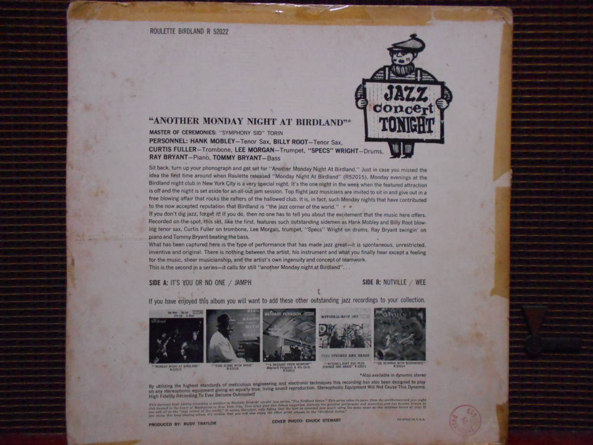 "MONOオリジナル盤 Hank Mobley, Billy Root, Curtis Fuller, Lee Morgan ""Another Monday Night At Birdland""  Roulette R-52022_画像2"