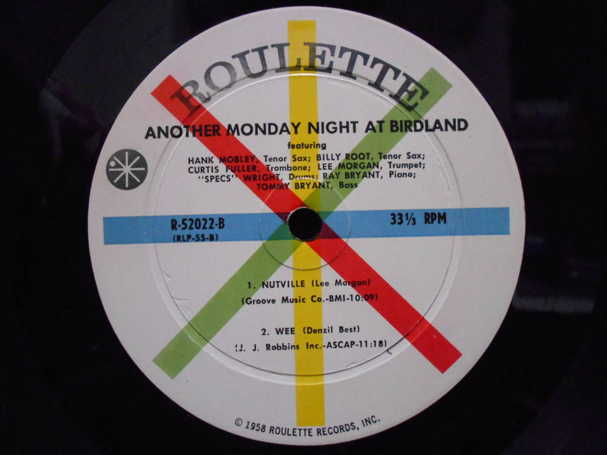 "MONOオリジナル盤 Hank Mobley, Billy Root, Curtis Fuller, Lee Morgan ""Another Monday Night At Birdland""  Roulette R-52022_画像4"