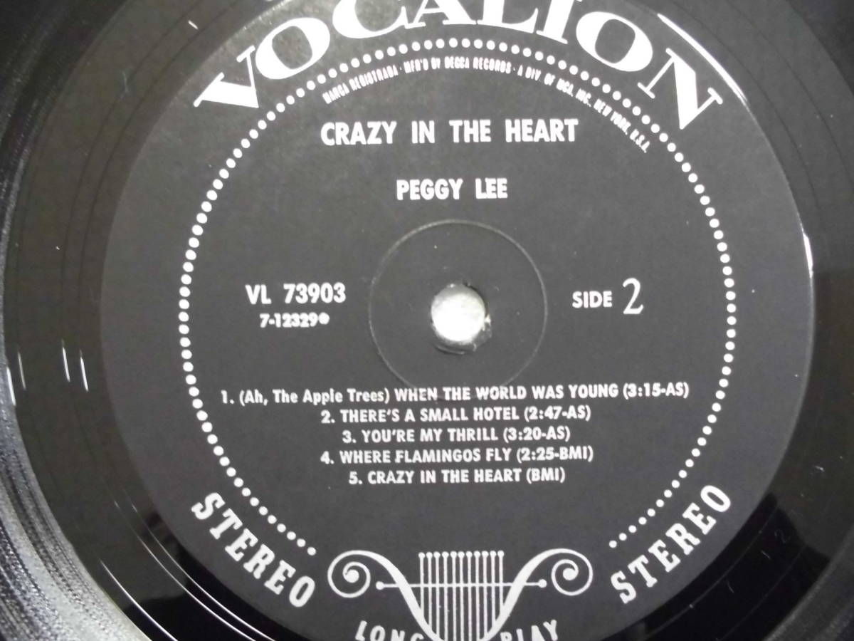 j-0921◆LP◆Jazz ペギー・リー/ Peggy Lee クレイジーインザハート=Crazy In The Heart  US盤 訳有品 送料380 _画像8