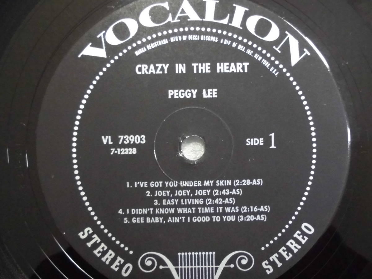 j-0921◆LP◆Jazz ペギー・リー/ Peggy Lee クレイジーインザハート=Crazy In The Heart  US盤 訳有品 送料380 _画像7