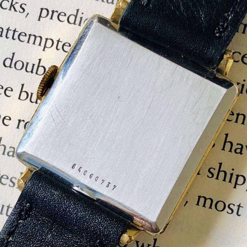 ★ジラールペルゴ GIRARD PERREGAUX★スクエア 黒文字盤 29mm ゴールドケース ブラック 手巻き メンズ 腕時計 アンテーク ヴィンテージ_画像6