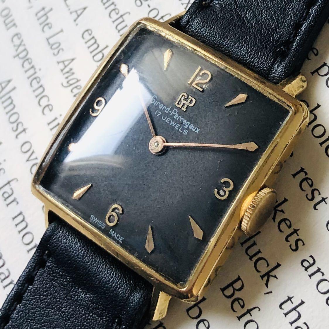 ★ジラールペルゴ GIRARD PERREGAUX★スクエア 黒文字盤 29mm ゴールドケース ブラック 手巻き メンズ 腕時計 アンテーク ヴィンテージ_画像2