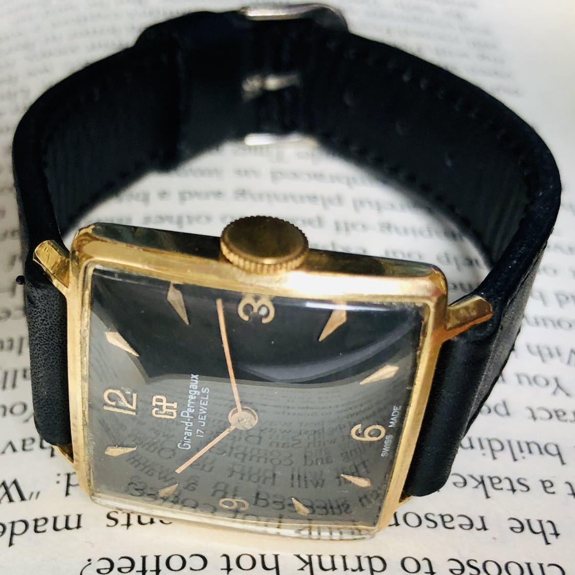 ★ジラールペルゴ GIRARD PERREGAUX★スクエア 黒文字盤 29mm ゴールドケース ブラック 手巻き メンズ 腕時計 アンテーク ヴィンテージ_画像5