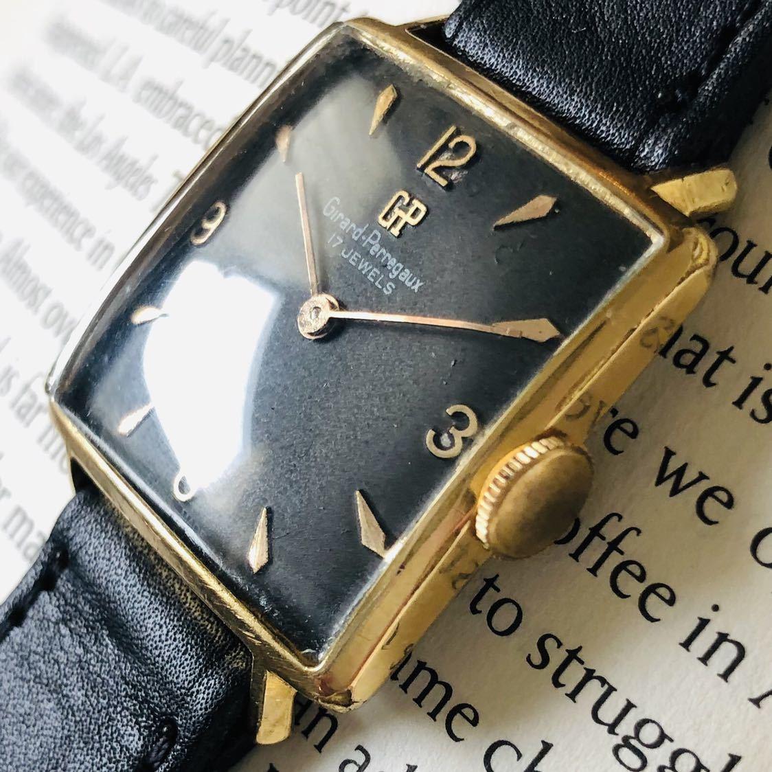 ★ジラールペルゴ GIRARD PERREGAUX★スクエア 黒文字盤 29mm ゴールドケース ブラック 手巻き メンズ 腕時計 アンテーク ヴィンテージ