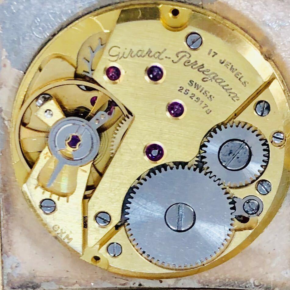 ★ジラールペルゴ GIRARD PERREGAUX★スクエア 黒文字盤 29mm ゴールドケース ブラック 手巻き メンズ 腕時計 アンテーク ヴィンテージ_画像7