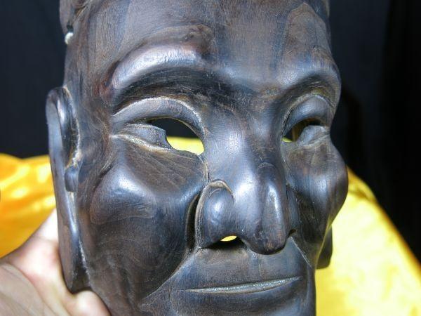 A 中国唐木古面 仮面 墨書きあり 演劇 古玩 骨董 民族劇 木彫 彫刻_画像1