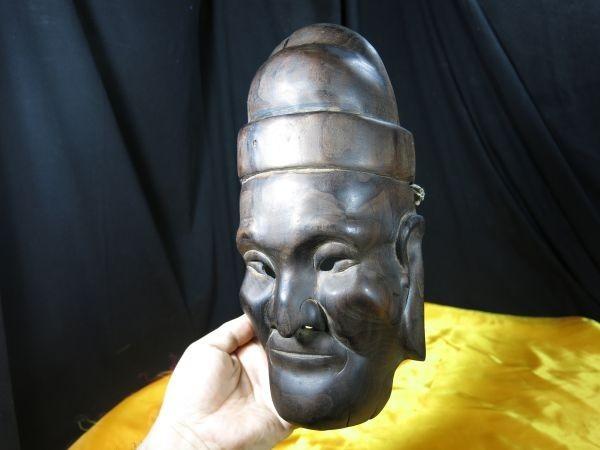 A 中国唐木古面 仮面 墨書きあり 演劇 古玩 骨董 民族劇 木彫 彫刻_画像4