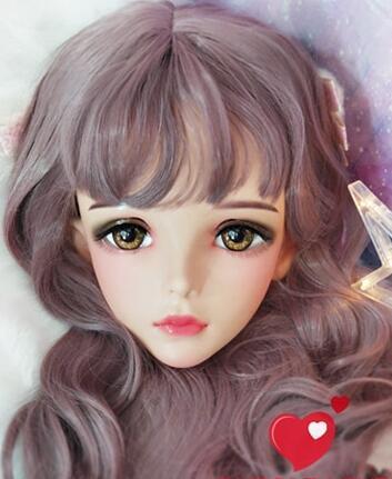 ★新品 美少女コスプレマスク黄い瞳 kigurumi MASK FPR製 ヘッド変身・変装二次元 美少女 等身 Dollマスク ハーフマスク★ _画像1