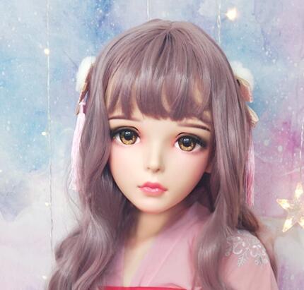 ★新品 美少女コスプレマスク黄い瞳 kigurumi MASK FPR製 ヘッド変身・変装二次元 美少女 等身 Dollマスク ハーフマスク★ _画像5