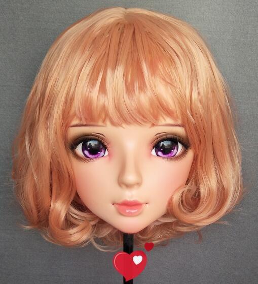 ★新作 着ぐるみマスク コスプレ kigurumi MASK FPR製 ヘッド変身・変装二次元 美少女 紫瞳 等身 Dollマスク ハーフマスク★