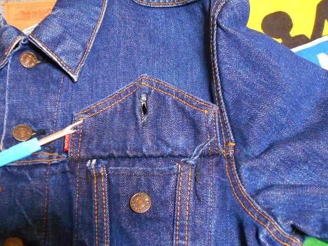 ★濃紺状態の1着★Made in USA製アメリカ製LEVISリーバイス70505Eビンテージデニムジャケットジージャン60s60年代ケアタグ小パッチ40色落ち_画像7