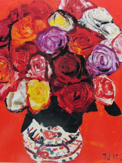 林武「薔薇」、希少画集画、新品高級額、額装付、状態良好、油彩 風景、送料込み、fan