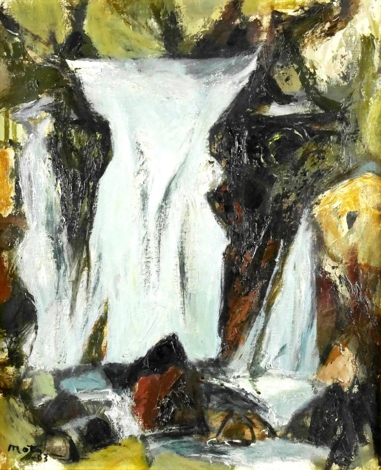 西村愿定『親湯の滝』◆油彩8号◆直筆サイン有◆日展評議員!日動画廊取扱!額装