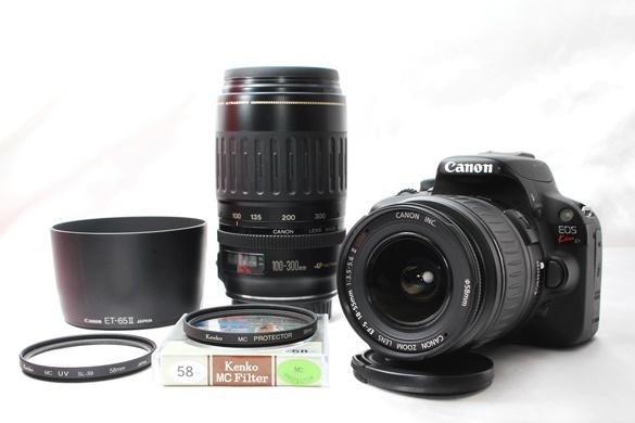 ★【新品級 ダブルレンズ スターターセット】 Canon EOS Kiss X7 ★ EF-S18-55mm II USM EF100-300mm USM ★豪華付属品 SD・取説つき_画像2