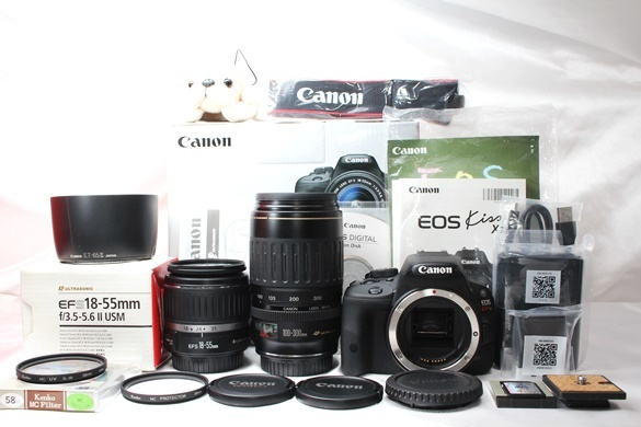 ★【新品級 ダブルレンズ スターターセット】 Canon EOS Kiss X7 ★ EF-S18-55mm II USM EF100-300mm USM ★豪華付属品 SD・取説つき