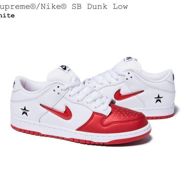 【国内オンライン正規】28.5cm US10.5 Supreme 19FW 赤 白 Nike SB Dunk Low White Red ダンク ロー 付属品完備