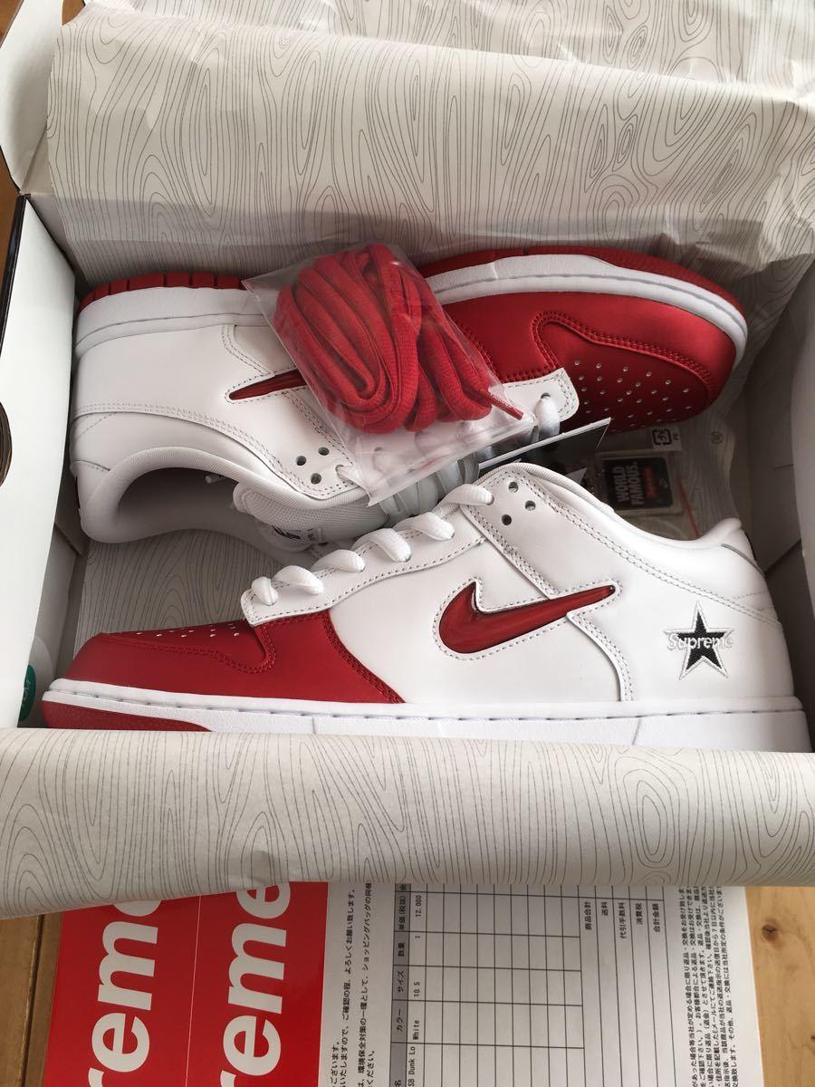 【国内オンライン正規】28.5cm US10.5 Supreme 19FW 赤 白 Nike SB Dunk Low White Red ダンク ロー 付属品完備_画像3