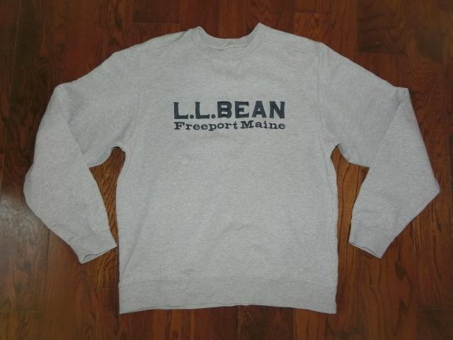L.L.Bean エルエルビーン Freeport Main 濃紺 ロゴ 綿 厚地 スウェット グレー 大きい トレーナー XL-REG ラルフ モンベル ノースフェイス