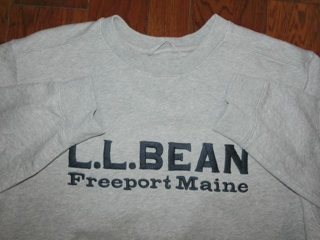 L.L.Bean エルエルビーン Freeport Main 濃紺 ロゴ 綿 厚地 スウェット グレー 大きい トレーナー XL-REG ラルフ モンベル ノースフェイス_画像2