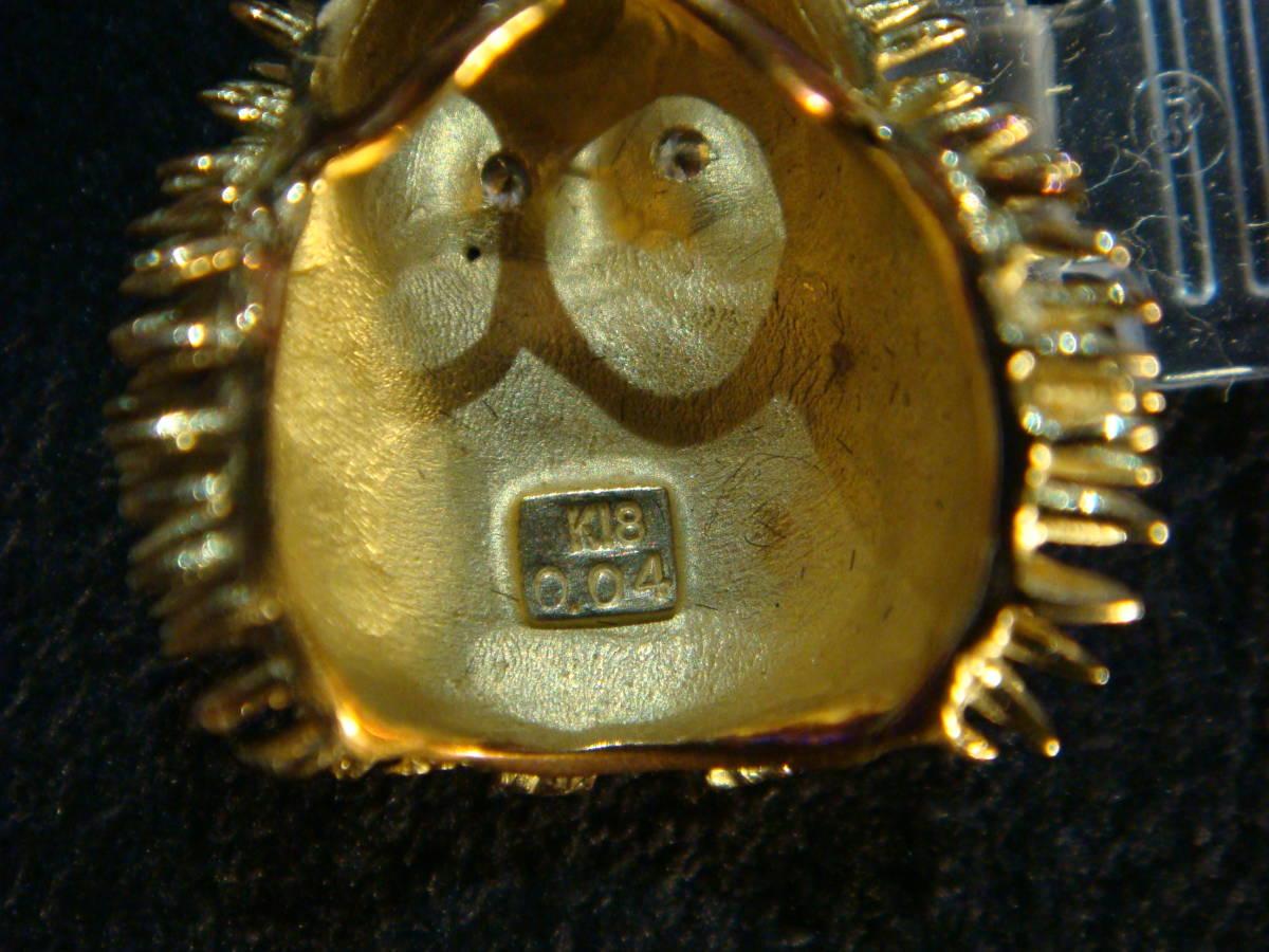 ★不苦労★金価格1g7,000円越え★フクロウのペンダントトップ★K18無垢★両眼ダイヤモンド★_k18及びダイヤ0.04カラットの刻印です。