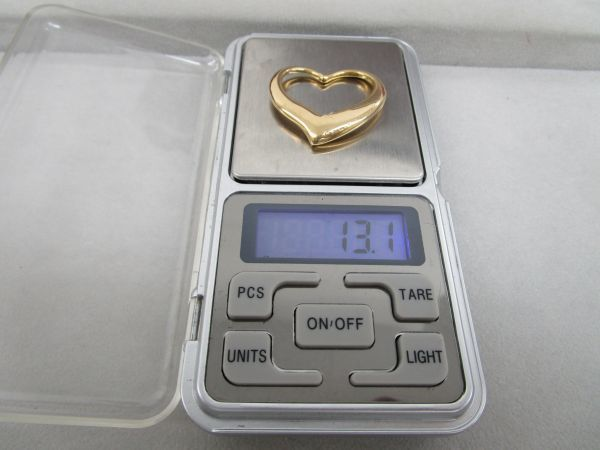 1013★cr★08.27 超希少! Tiffany&Co. ティファニー K18YG オープンハート ラージサイズ 750 総重量約13.1g_画像7