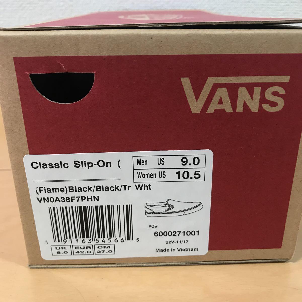 27.0cm 新品 US企画 VANS CLASSIC SLIP ON FLAME バンズ スリッポン フレーム スリップオン 黒 ブラック BLACK_画像7
