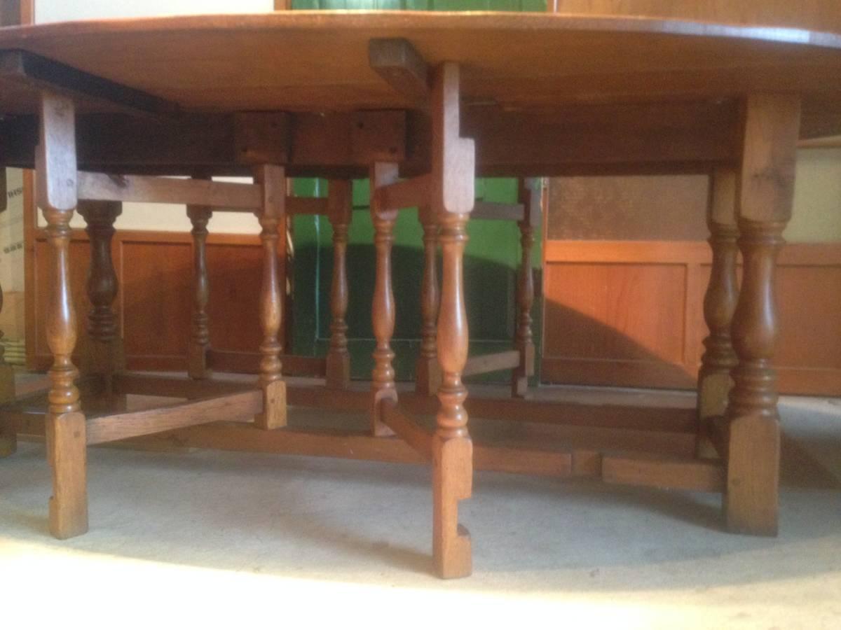 アンティーク調バタフライダイニングテーブルイギリス定番のゲートレッグテーブル食卓オーク無垢材クラシック引き取り歓迎直接渡し歓迎_画像7