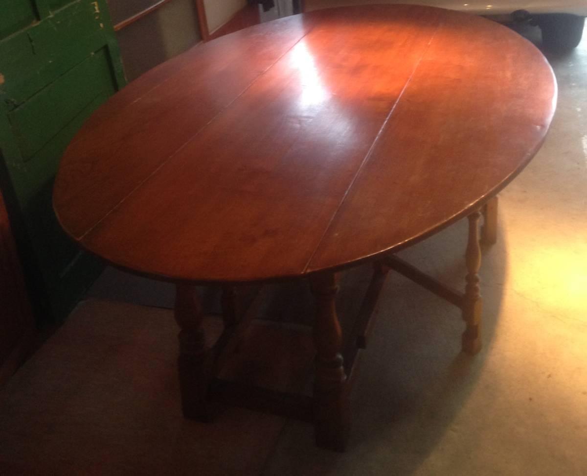 アンティーク調バタフライダイニングテーブルイギリス定番のゲートレッグテーブル食卓オーク無垢材クラシック引き取り歓迎直接渡し歓迎_画像5