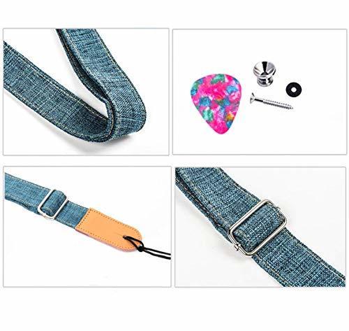 ウクレレ ストラップ ミニギターストラップ - マリナの逸品 厚さ4mm 幅3.8cm 二重層革エンド 麻綿リネン ビンなど必要_画像2
