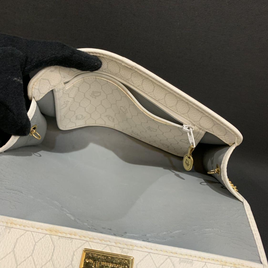 クリスチャンディオール Christian Dior チェーン 2WAY ショルダー クラッチバッグ トロッター キャンバス レザー ビンテージ オールド_画像7